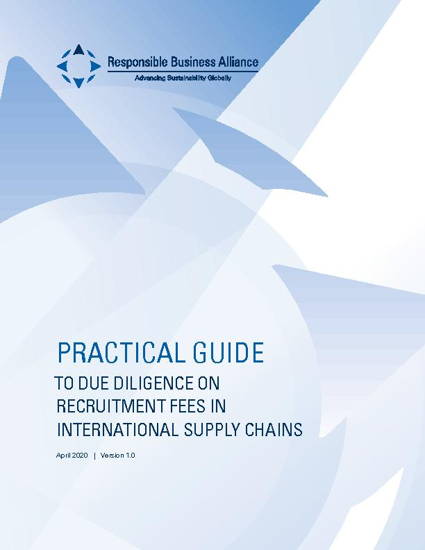 RBA Practical Guide to Due Diligence on Recruitment Fees in International Supply Chains